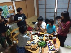 高野家で夕食